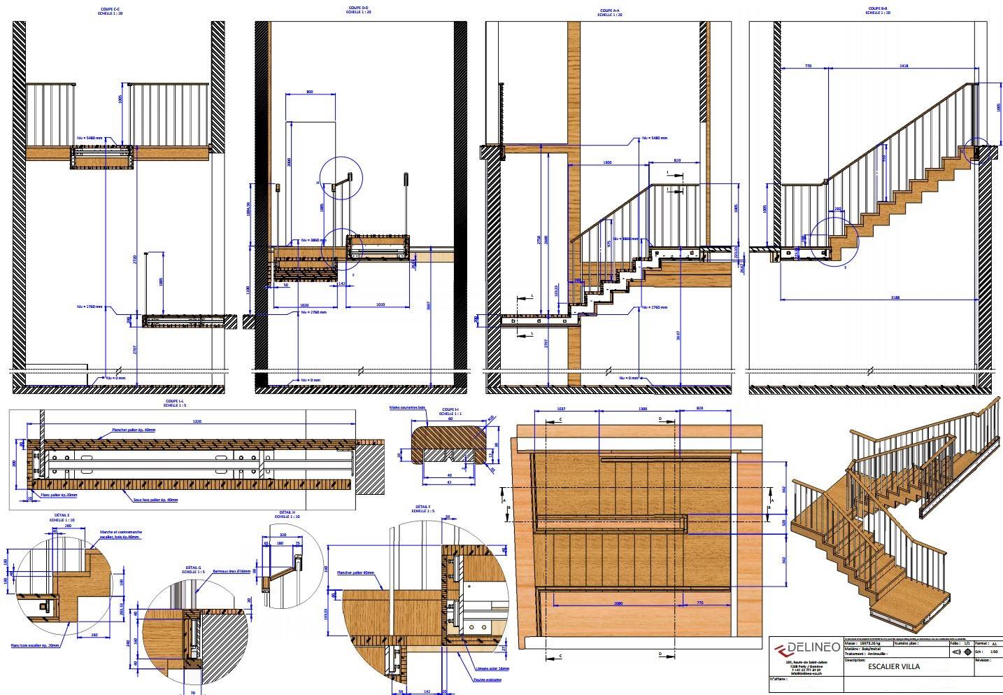 Escalier bois m tal delineo sa for Plan petit escalier en bois